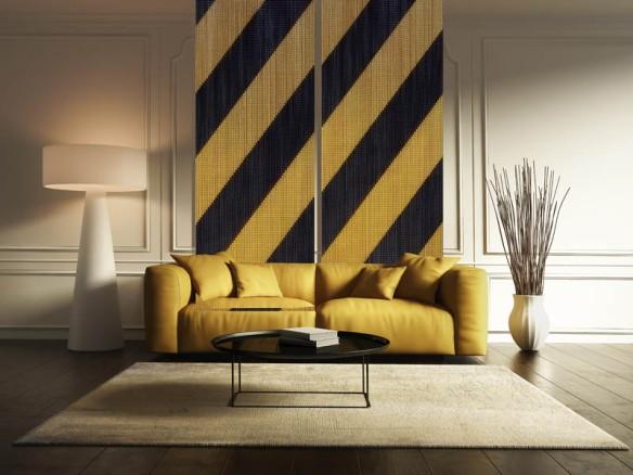 Contemporary elegant living room, yellow sofa, wood floor
